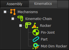 Kinematic-Tree with Elements for a Rocker