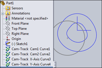 The 2D Cam Track in SolidWorks from MechDesigner.